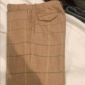 Polo brown plaid wool blend pant